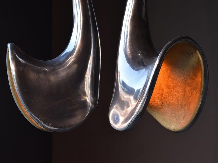 Modern Jordan Mozer, Organic Chandelier, Studio of Artist, Aluminum, Gold Leaf, 2006 For Sale