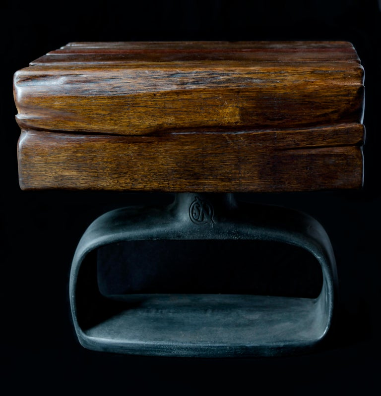 Jordan Mozer (b. 1958), SX/XS.Chunk table: Hand carved reclaimed red African ironwood, burnished and patinated cast aluminium, Chicago, 2018 Measurements: 7.5