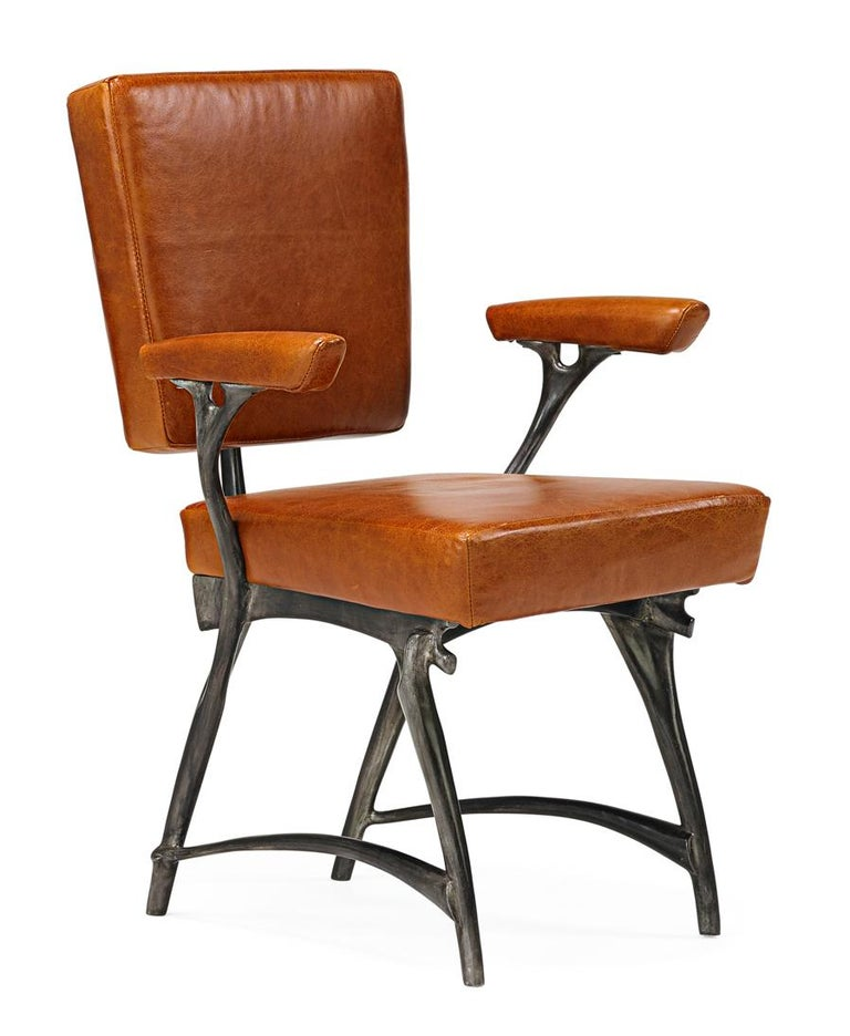 """Jordan Mozer (b.1958), Twiggy Armchair,  Cast Recycled Cast Aluminum, Patinated, Leather Upholstery, Made in Chicago, USA 1997/2015. This is a 2015 variation on the original 1997 design. Provenance: collection of the artist. Signed. The chair is 35"""""""
