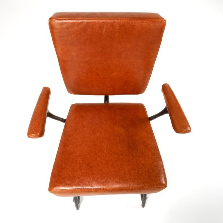 Organic Modern Jordan Mozer, Twiggy Armchair, Patinated Cast Aluminum + Leather, USA 1997/2015 For Sale