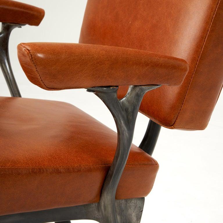 American Jordan Mozer, Twiggy Armchair, Patinated Cast Aluminum + Leather, USA 1997/2015 For Sale