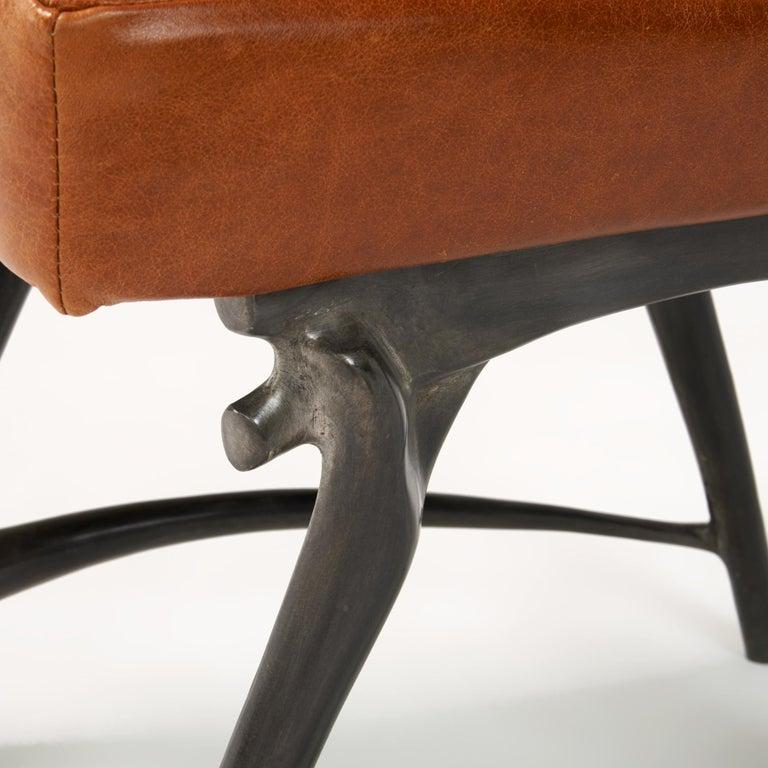 Contemporary Twiggy Armchair, Patinated Cast Aluminum + Leather, Jordan Mozer, USA 1997/2015 For Sale