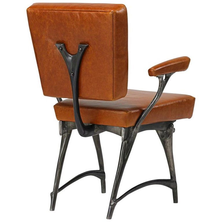 Jordan Mozer, Twiggy Armchair, Patinated Cast Aluminum + Leather, USA 1997/2015 For Sale