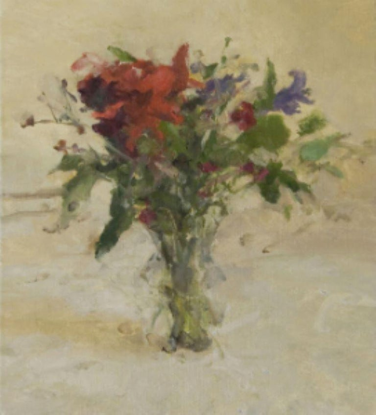 """Jordan Wolfson Interior Painting - """"Still Life with Flowers II"""" Oil Painting"""