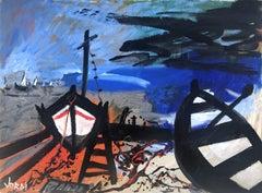 Boats on the beach original acrylic on canvas painting