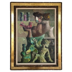 Jordi Pla Domenech Large Abstract Cubist Oil Painting, Signed