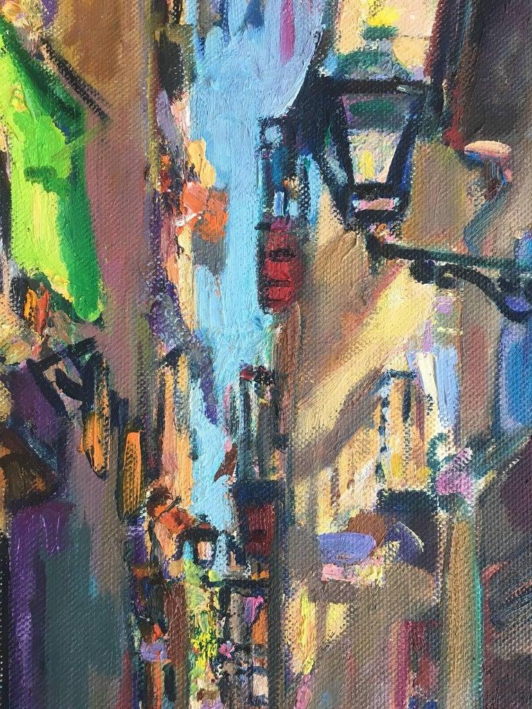 BARCELONA STREET- original acrylic canvas painting - Painting by Jordi Santacana