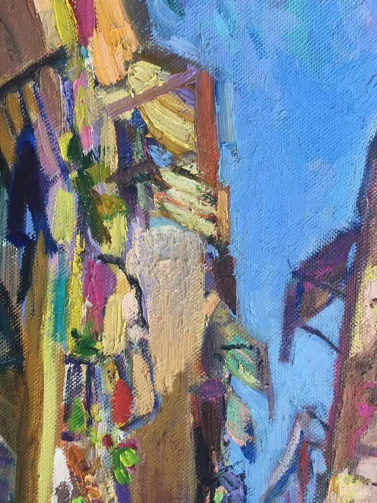 BARCELONA STREET- original acrylic canvas painting - Expressionist Painting by Jordi Santacana