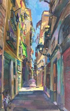 BARCELONA STREET- original acrylic canvas painting
