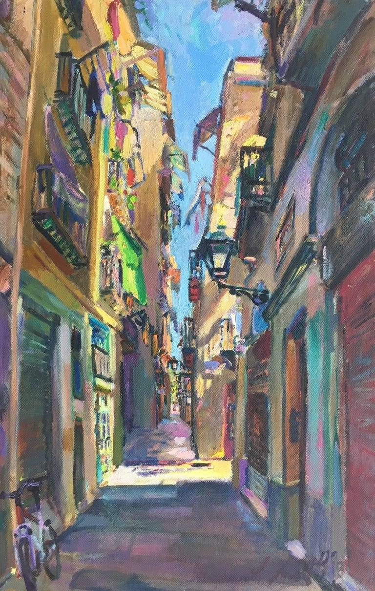 Jordi Santacana Figurative Painting - BARCELONA STREET- original acrylic canvas painting