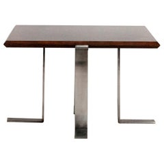 Jordi Vilanova Midcentury, Square Side Table, Walnut and Nickel-Plated Feet