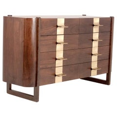 Jordi Vilanova Midcentury Wood and Brass Spanish Chest of Drawers, 1970s