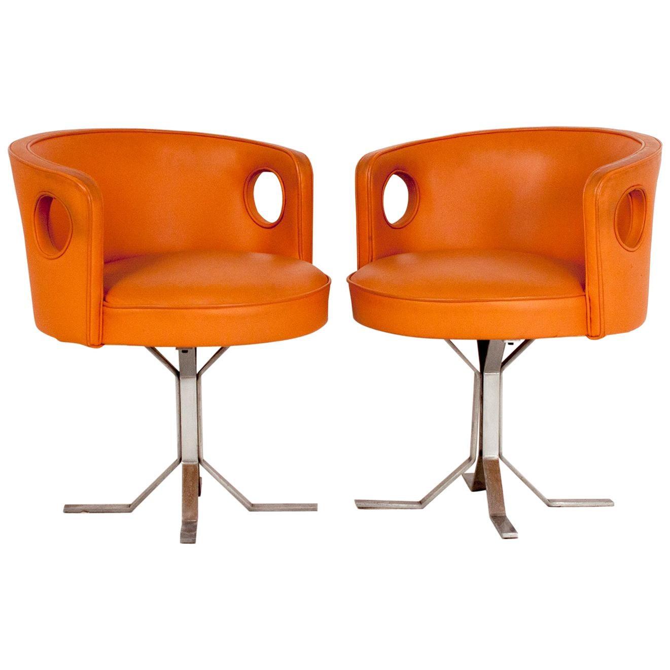 Jordi Vilanova pair of Midcentury Orange Leather Chairs, 1970s