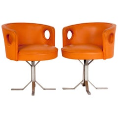 Jordi Vilanova pair of Midcentury Orange Leather Chairs, 1970s