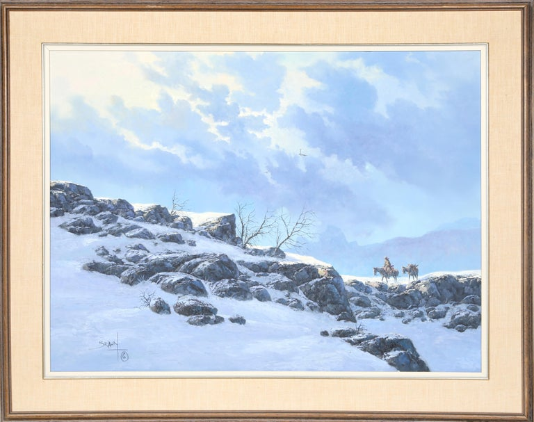 Cowboy In Snowy Landscape For Sale