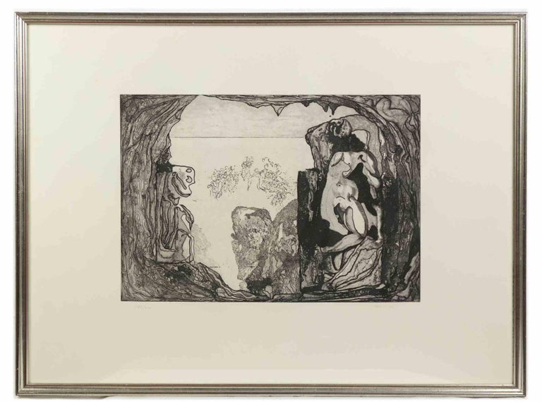 Homage to Michelangelo - Original Etching by Jorge Castillo - 1975 For Sale 1