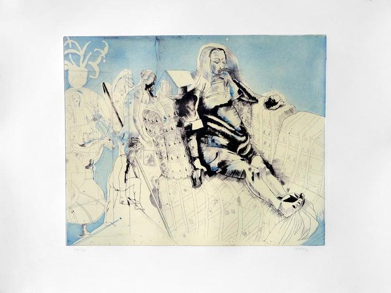 JORGE CASTILLO: Marienza en Domingo - Etching on paper  Spanish Surrealism 1
