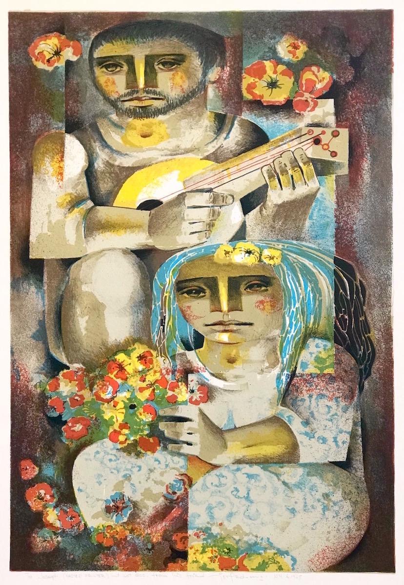 SERANATA de FLORES Signed Lithograph, Cubist Style Couple Portrait, Latin Art