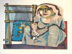 TEJEDORA, Signed Lithograph, Cubist Style Portrait, Woman Weaver, Loom