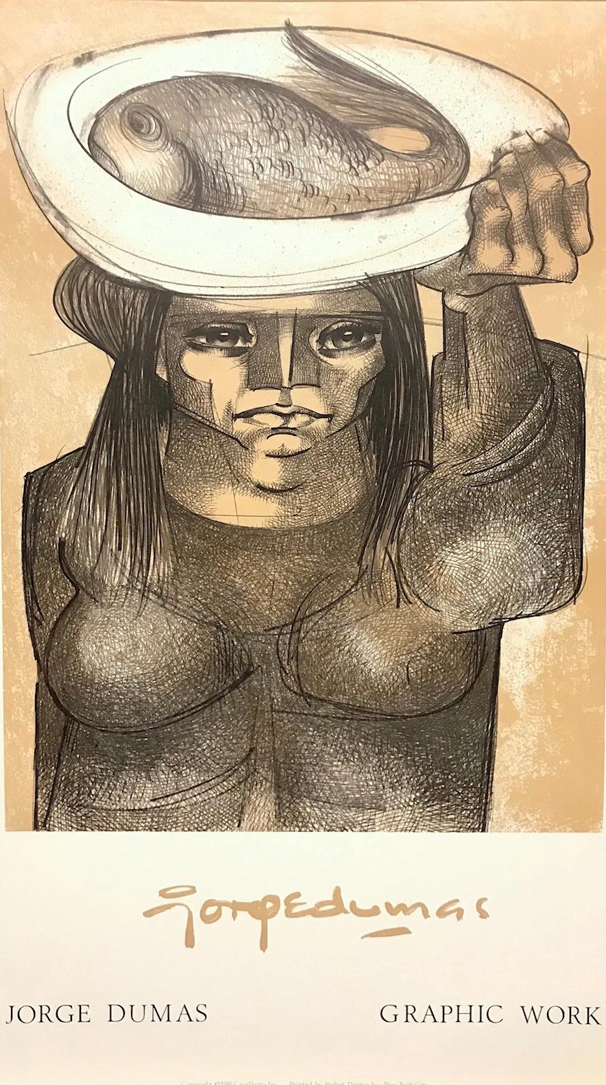 WOMAN CARRYING A FISH Lithograph Art Poster, Female Portrait, Latin American