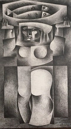 Woman Carrying Fish, Signed Lithograph, Cubist Style Female Portrait Fish
