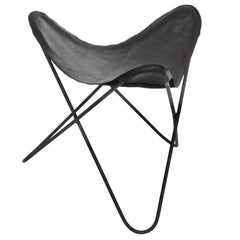 "Jorge Ferrari-Hardoy Black Wrought Iron ""Butterfly"" Sling Stool, 1950s"