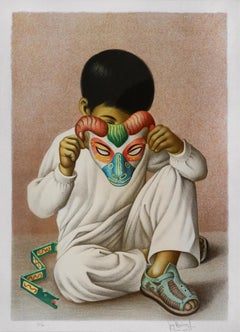 The Boy with a Mask, Mexican Artist, Hand Finished Lithograph,Printed in Paris