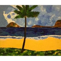 """Jorge Quartilho Acrylic on Canvas """"Leblon"""" 1989 Rio De Janeiro"""