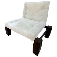 Jorge Zalszupin 1960s Brazilian Jacaranda Lounge Chair in Beige Suede