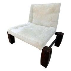 Jorge Zalszupin 1960s Brazilian Jacaranda Wood Lounge Chair in Beige Suede