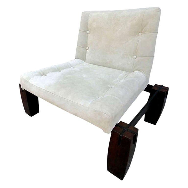 Jorge Zalszupin 1960s Brazilian Jacaranda Wood Lounge Chair in Beige Suede For Sale
