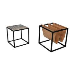 Jorge Zalszupin Domino Magazine Rack in Marble and Iron with Coffe Table, 1965