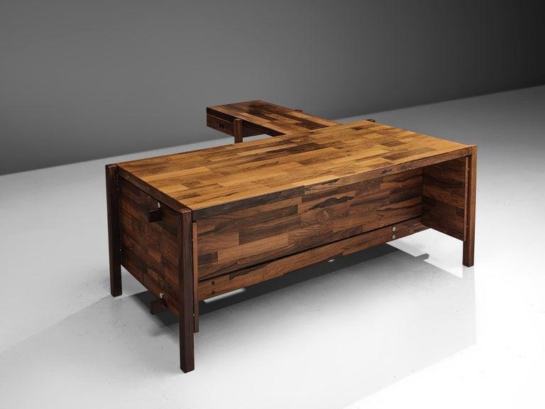 Brazilian Jorge Zalszupin Executive Desk in Rosewood For Sale