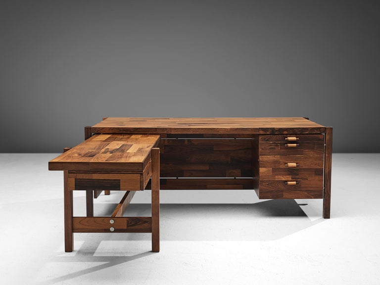 Jorge Zalszupin Executive Desk in Rosewood In Good Condition For Sale In Waalwijk, NL