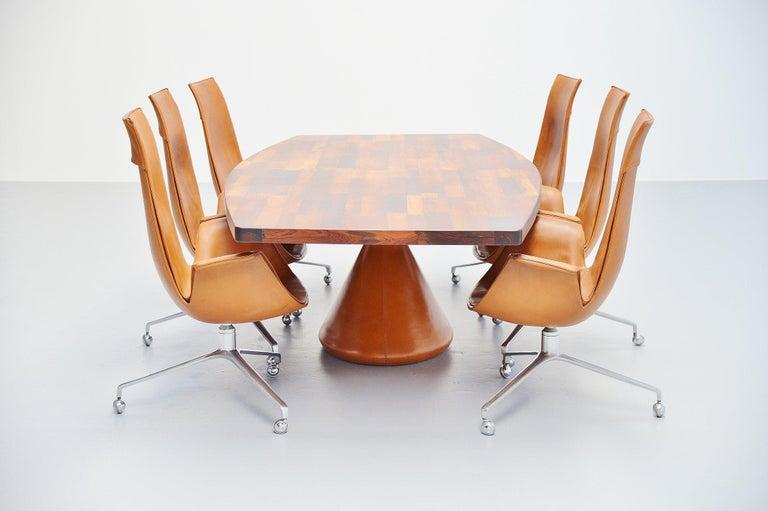 Leather Jorge Zalszupin Guanabara Pedestal Dining Table, Brazil, 1960 For Sale