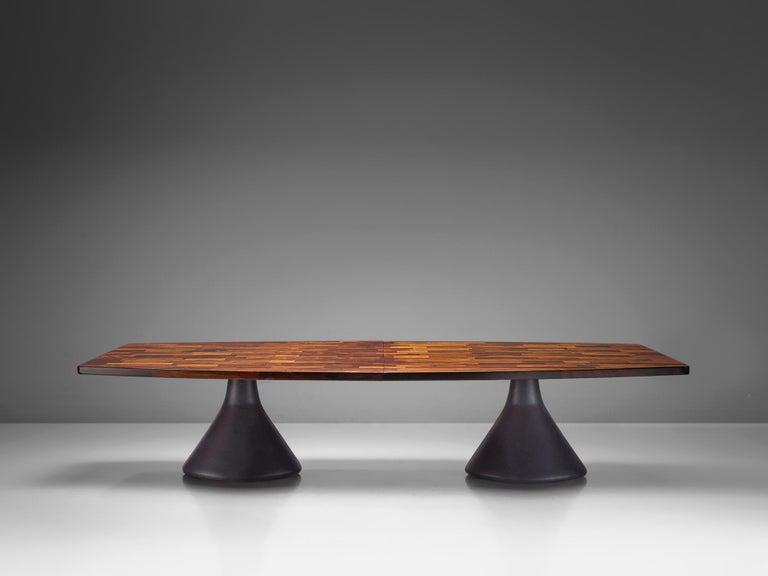 Brazilian Jorge Zalszupin Large 'Guanabara' Pedestal Dining Table For Sale