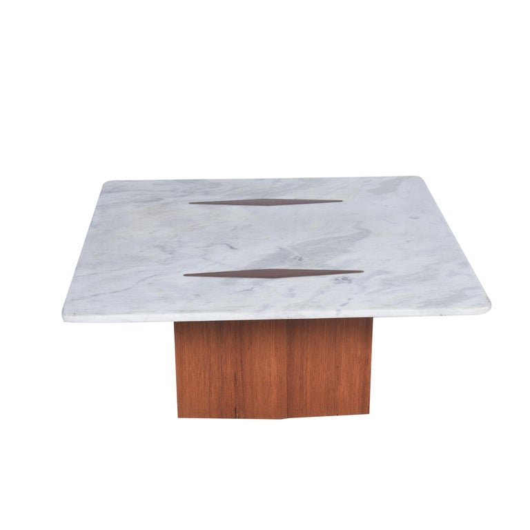 Mid-Century Modern Jorge Zalszupin Midcentury Brazilian Center Table with Marble Top, 1960s For Sale