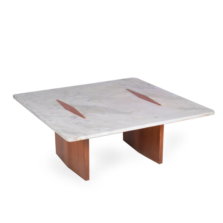 Jorge Zalszupin Midcentury Brazilian Center Table with Marble Top, 1960s In Good Condition For Sale In Sao Paulo, SP
