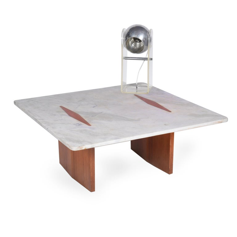 20th Century Jorge Zalszupin Midcentury Brazilian Center Table with Marble Top, 1960s For Sale