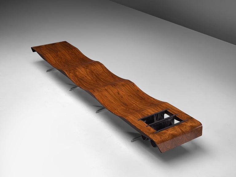 Mid-Century Modern Jorge Zalszupin 'Onda' Bench in Rosewood For Sale