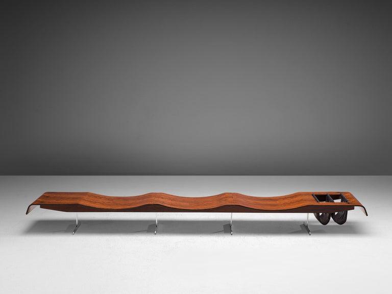 Brazilian Jorge Zalszupin 'Onda' Bench in Rosewood For Sale
