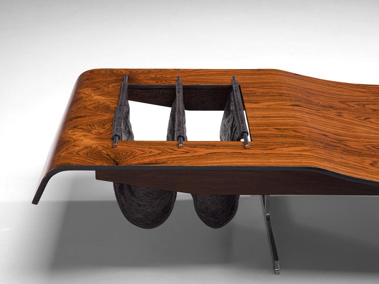 Jorge Zalszupin 'Onda' Bench in Rosewood In Good Condition For Sale In Waalwijk, NL