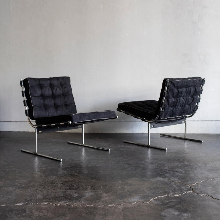 Designed by Jorge Zalszupin and manufactured by L'Atelier. 1960s, Brazil. Metal structure with black suede reupholstery.