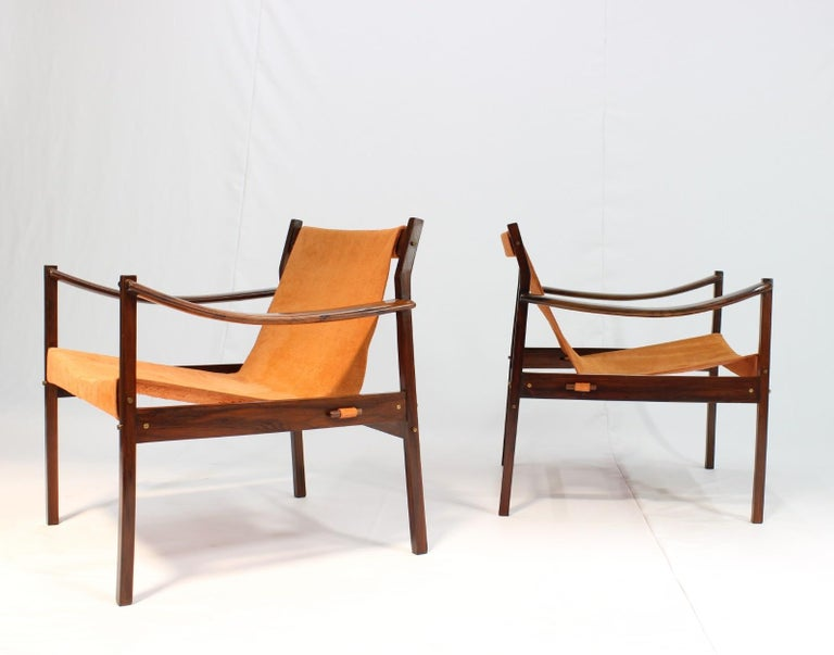 Set of two armchairs model 720, in rosewood and leather by Jorge Zalszupin, Brazil, 1960s.