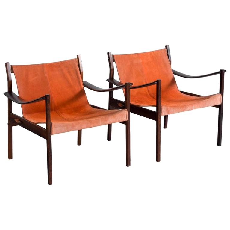 "Jorge Zalszupin Pair of Rosewood Lounge Chairs Model ""720"" For Sale"