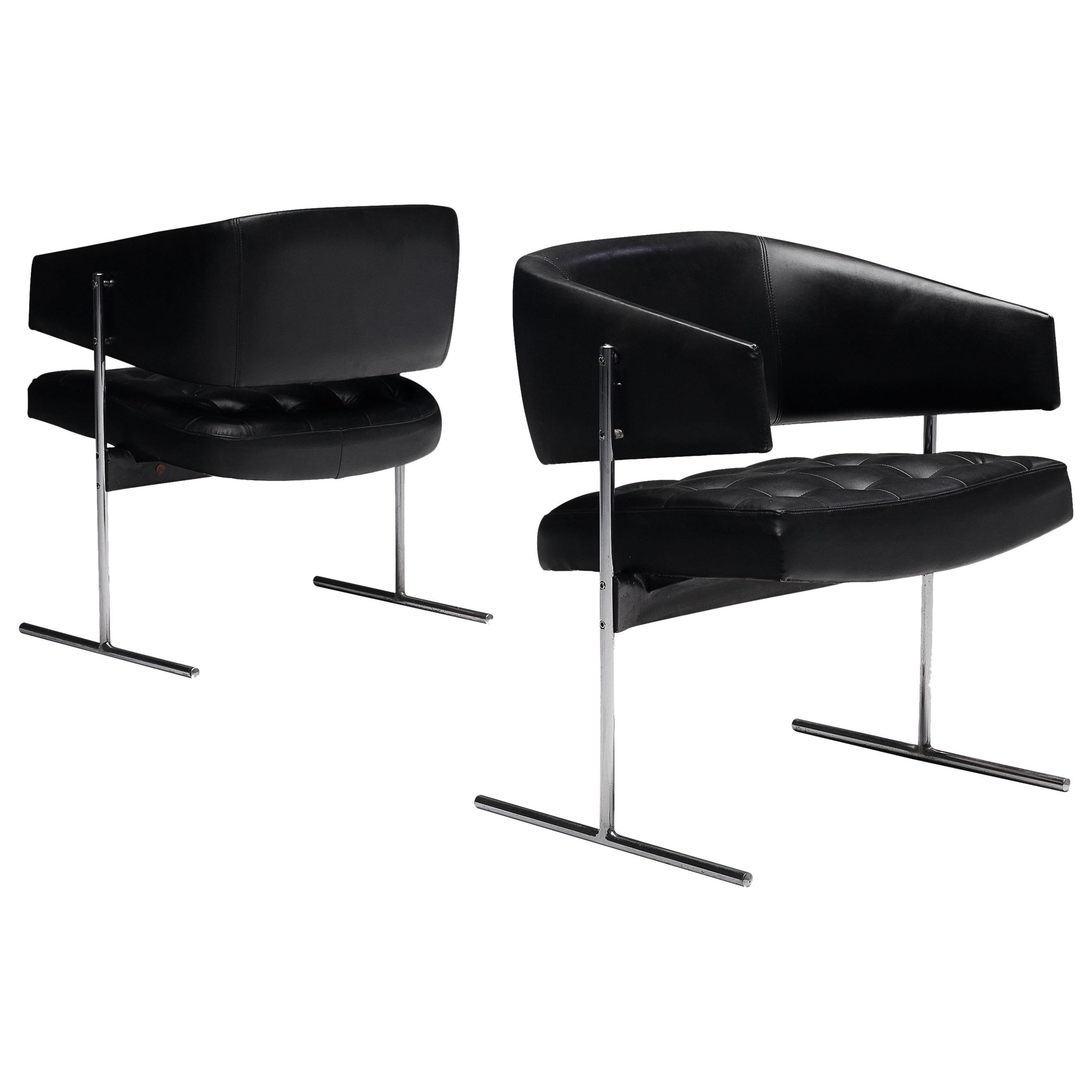 Jorge Zalszupin Pair of 'Senior' Chairs in Black Leatherette