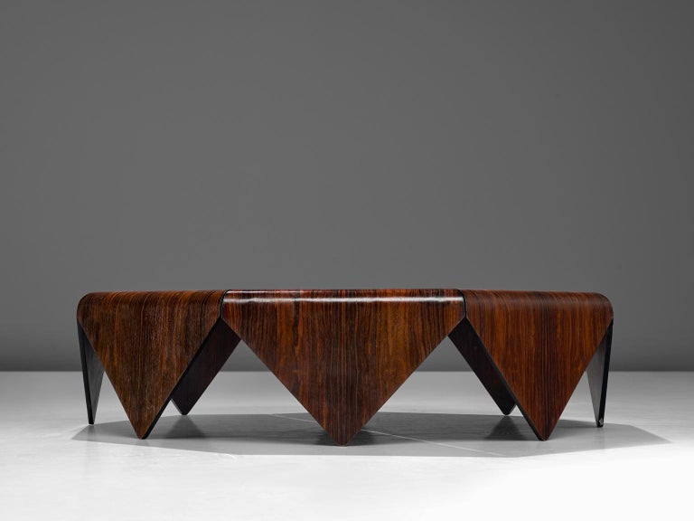 Mid-Century Modern Jorge Zalszupin 'Pétalas' Coffee Table in Rosewood For Sale