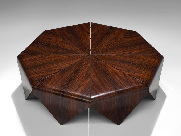Brazilian Jorge Zalszupin 'Pétalas' Coffee Table in Rosewood For Sale