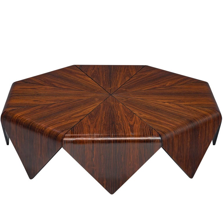 Jorge Zalszupin 'Pétalas' Coffee Table in Rosewood For Sale