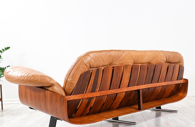 "Brass Jorge Zalszupin ""Presidencial"" Rosewood Sofa for L'Atelier For Sale"
